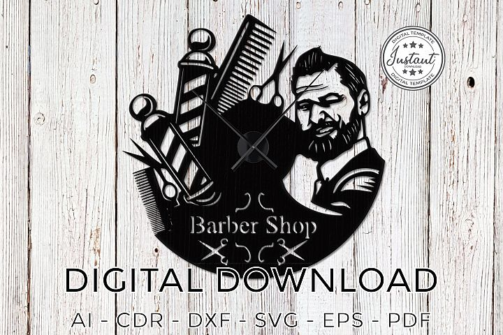 Barber Shop Clock Plans, Laser cut, Laser cut patterns clock