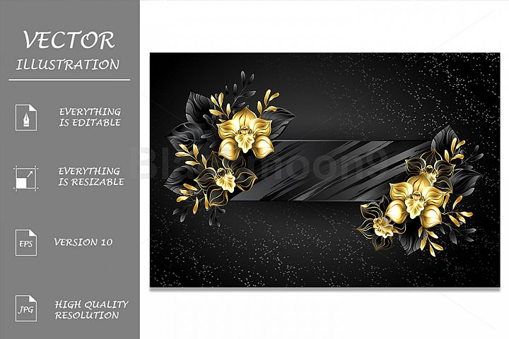 Textured Banner with Black Orchids