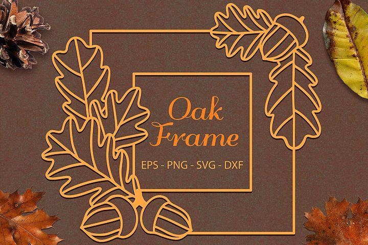 Oak Leaves Acorns Frame svg png dxf eps - Oak Paper Cut