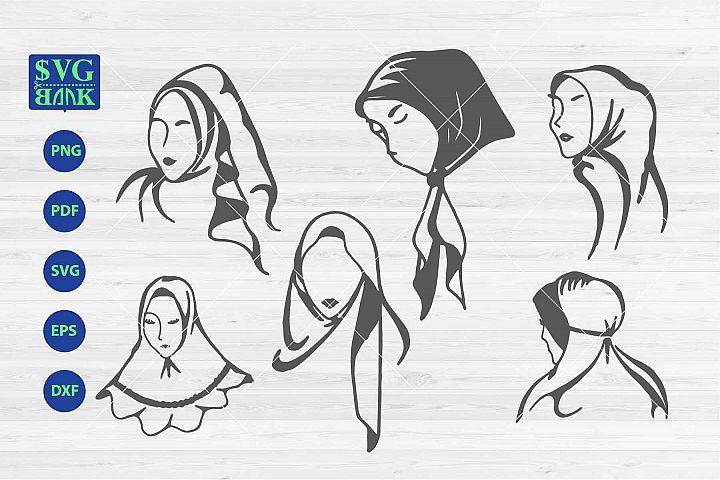 Hijab SVG, Muslim woman Clipart collection, Jilbab svg