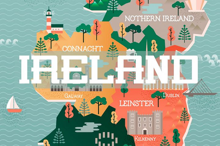 Flat vector illustration with stylized travel map of Ireland. The landmarks and main cities like Dublin and Belfast. Text Welcome to Ireland