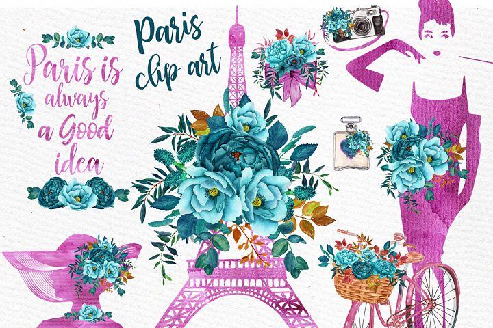 Paris Watercolor clipart WATERCOLOR FLOWERS Eiffel tower