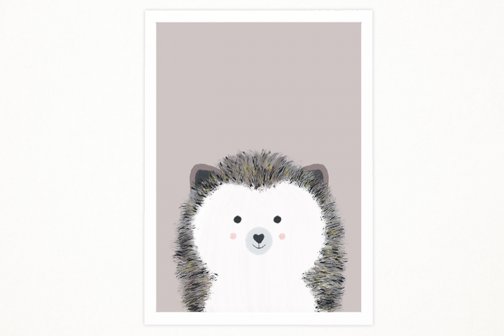 Handmade Little hedgehog art printable in A4 to decor an special place. Babys room, kids room. Illustration, printing. Ready to print