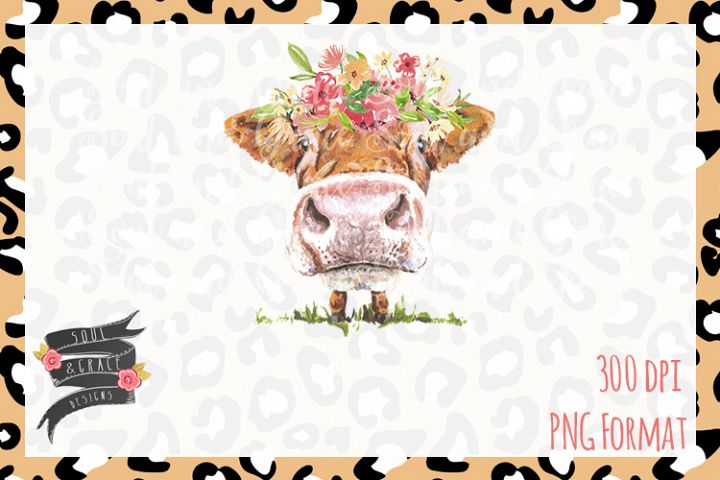 Cow with Flowers- INSTANT DOWNLOAD - PDF/PNGPrintable