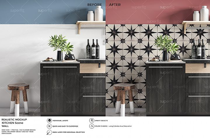 Kitchen PSD Mockup to change the WALL surface SM13