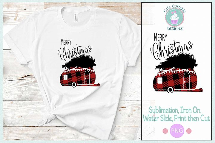 Plaid Camper Christmas, Merry Christmas Sublimation Design