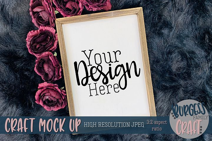 Vertical sign purple flowers Craft mock up |High Res JPEG
