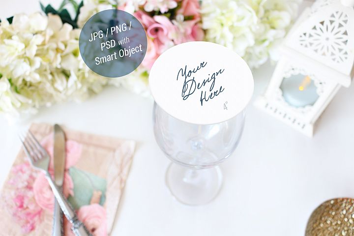 Drink Coaster Mockup, Wedding Mockup, Round coaster, 944