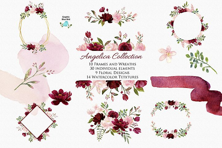 Angelica - Blush and Burgundy Watercolor Clip Art Flowers