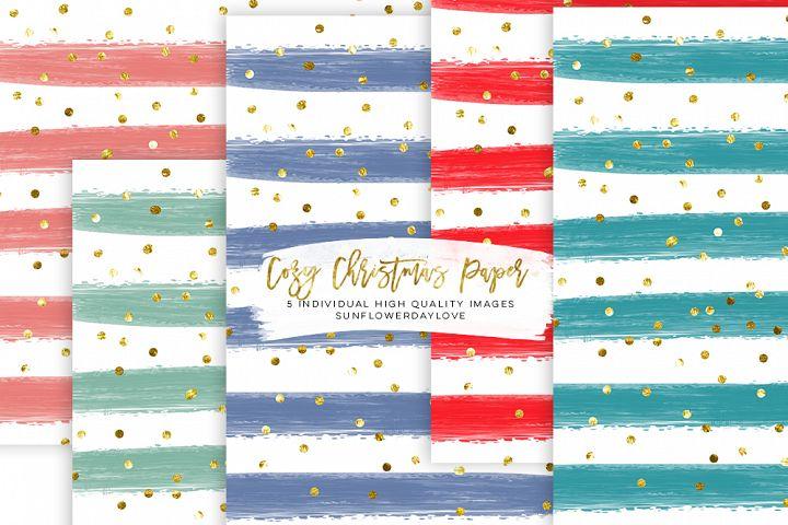 Cozy Christmas paper clip art, Digital Christmas Paper