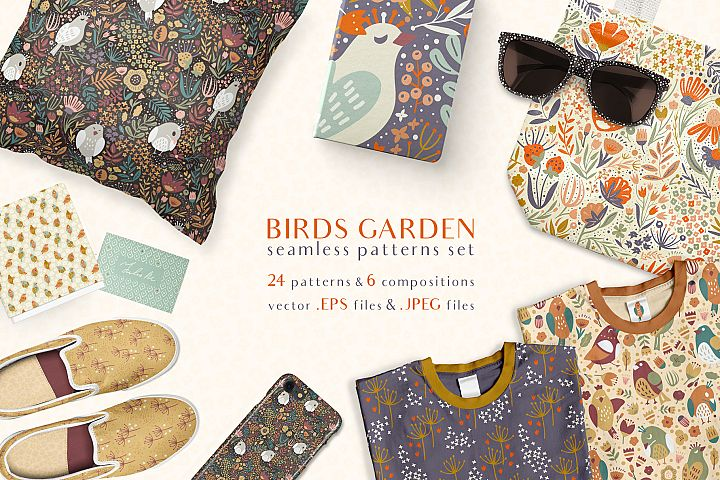 Birds Garden - Seamless Patterns Set