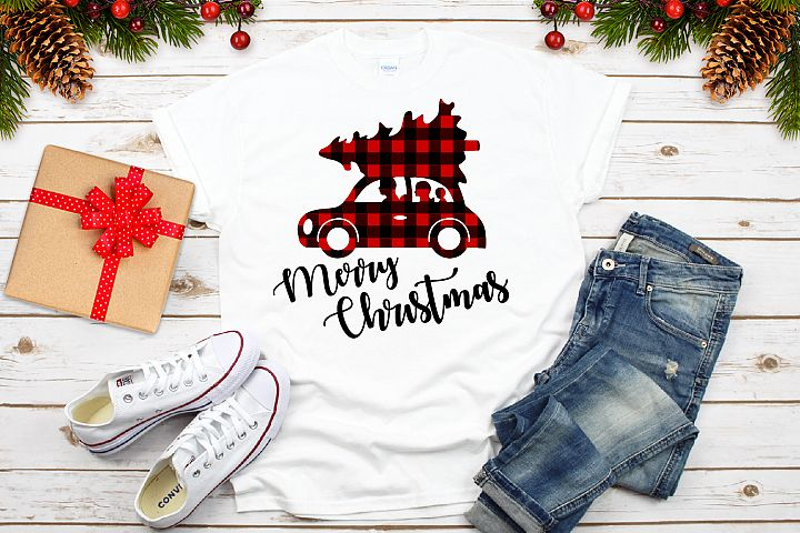 Christmas Buffalo Pleid Car Svg, Christmas Svg