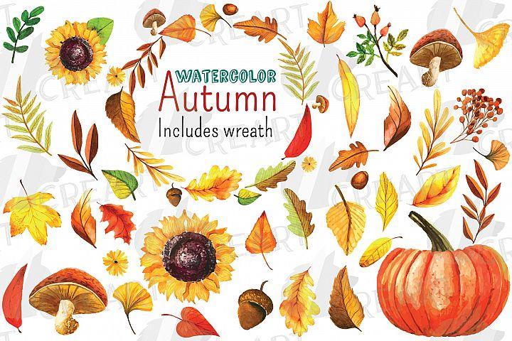 Watercoulor fall leaves decor clipart. Autumn leafs wreath