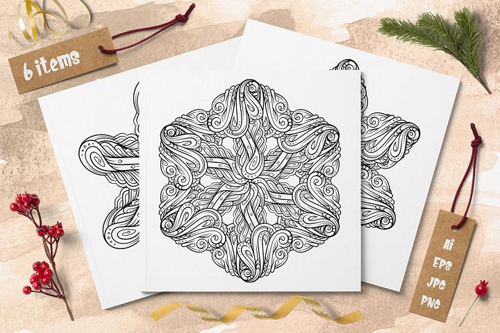 New Year snowflakes coloring cards