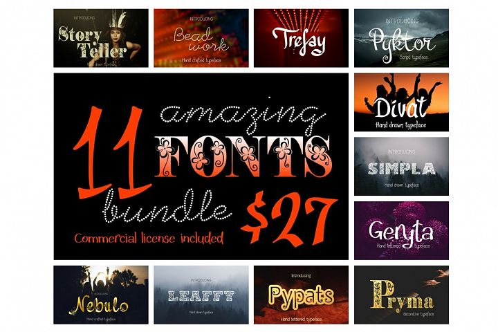 11 Fonts bundle