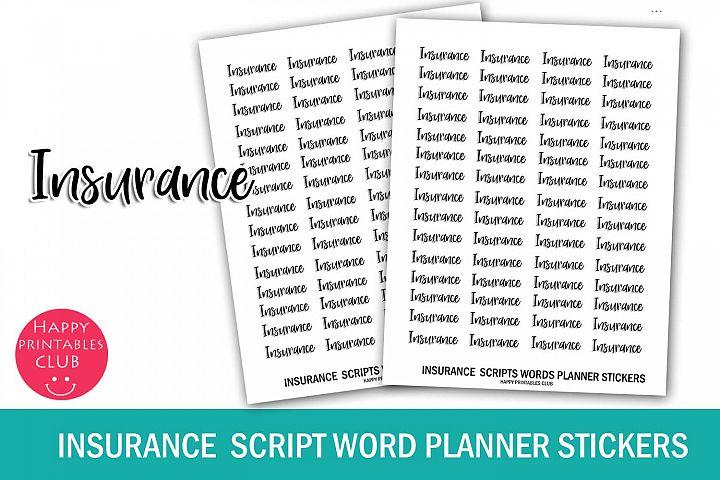 Insurance Script Words Planner Stickers- Insurance Stickers