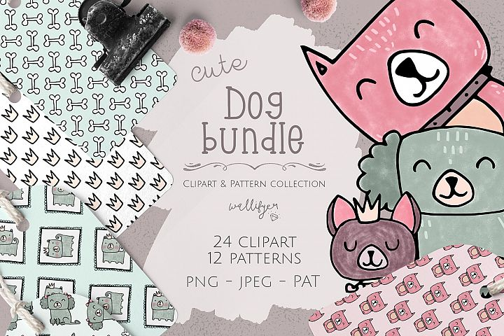 Dog clipart and patterns collection