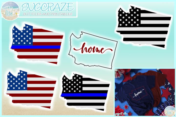 Washington State USA American Police Flag Patriotic SVG