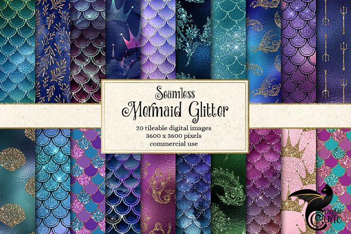 Mermaid Glitter Digital Paper example 1