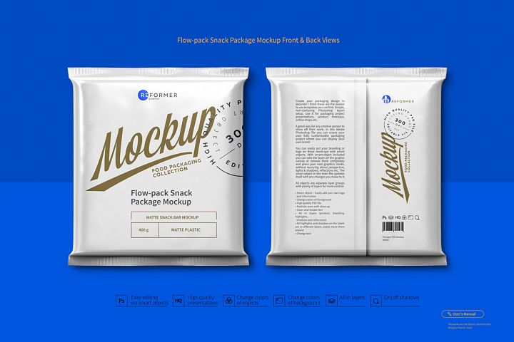 Flow-pack Snack Package Mockup Front & Back Views