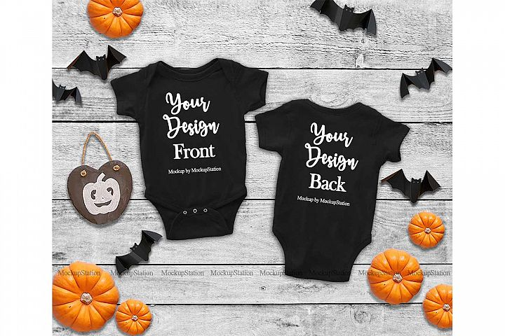 Baby Front & Back Black Bodysuit Mockup, Halloween Mock Up