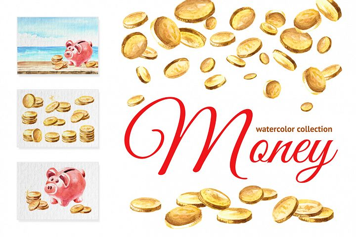 Money. Watercolor collection