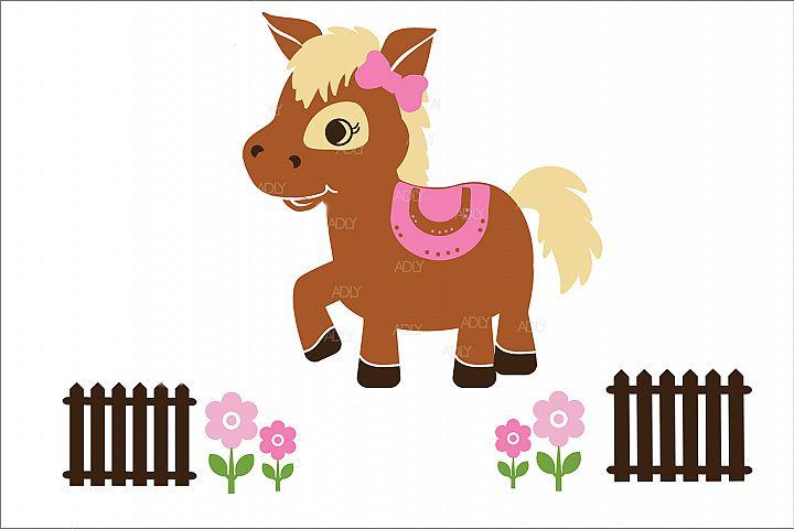 Cute Baby Girl Horse in Vector Format, JPEG
