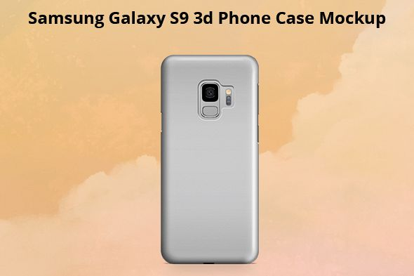 Samsung Galaxy S9 3d Phone Case Mockup Back View