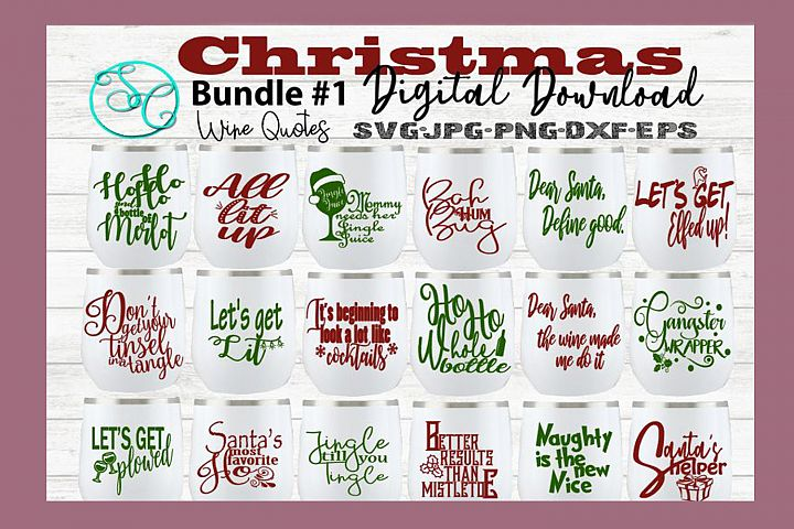 Christmas Wine SVG Funny Sayings Quotes Bundle 1