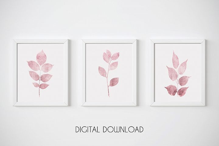 Pink Botanical Print, Pink Leaf Prints, Set of 3 Wall Art