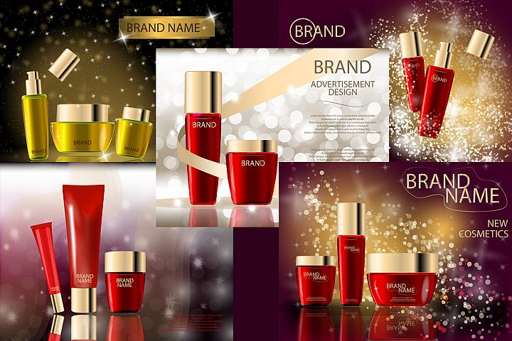 Glamorous Beauty Care Products Packages, Mock-ups, 3D Realistic Vector template