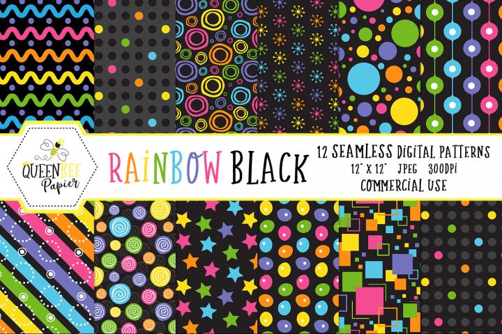 Rainbow Black Seamless Digital Patterns
