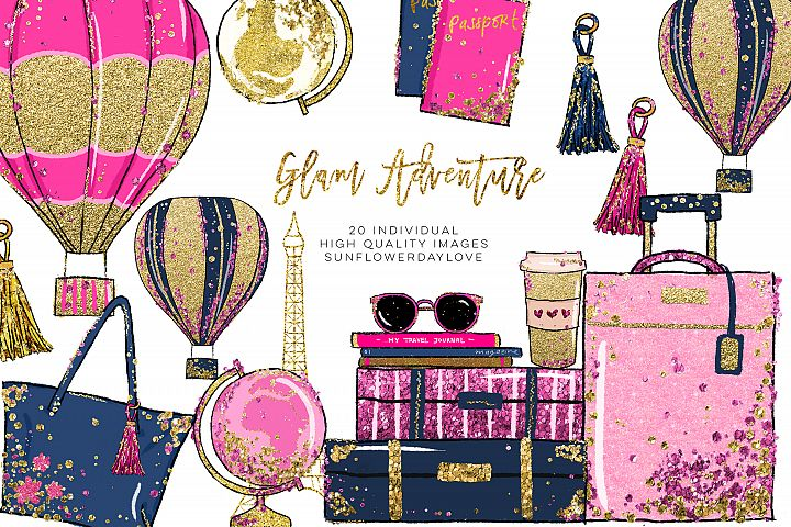 Glam Adventure Travel Clipart, Travel Fashion Clipart