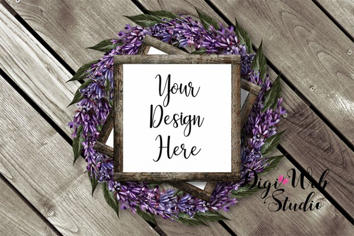 Flat Lay Wood Signs Mockup - Square Wood Frames on Wreath