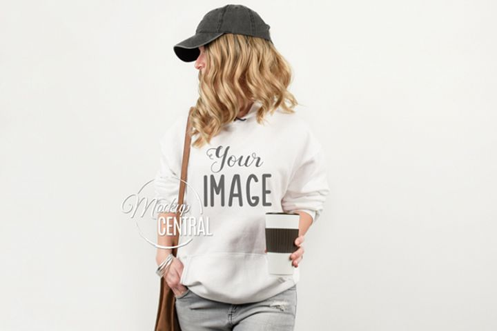 White Hoodie on Model Mockup, Girl in Mock Up Hoodie