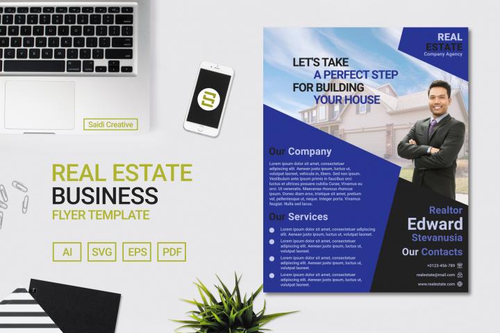 Real Estate Business Indigo Colour Flyer Template Design