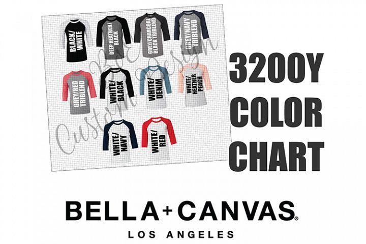 Bella 3200Y Youth Raglan Baseball T-Shirt Color Chart