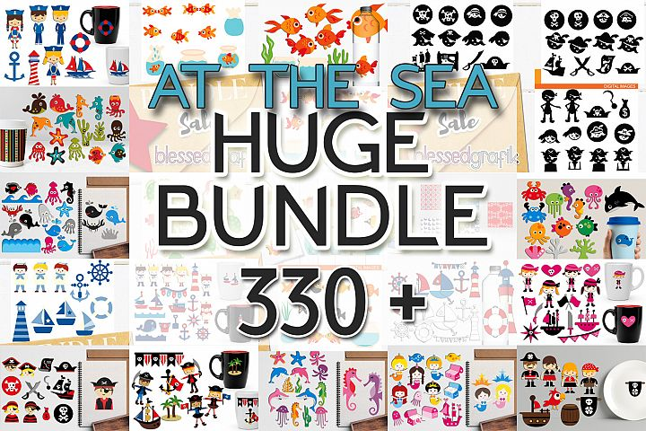 Graphics Huge Bundle - At The Sea Clip Art Illustrations