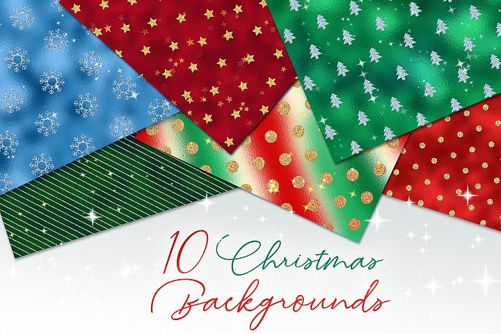 10 Christmas Backgrounds- holiday digital papers