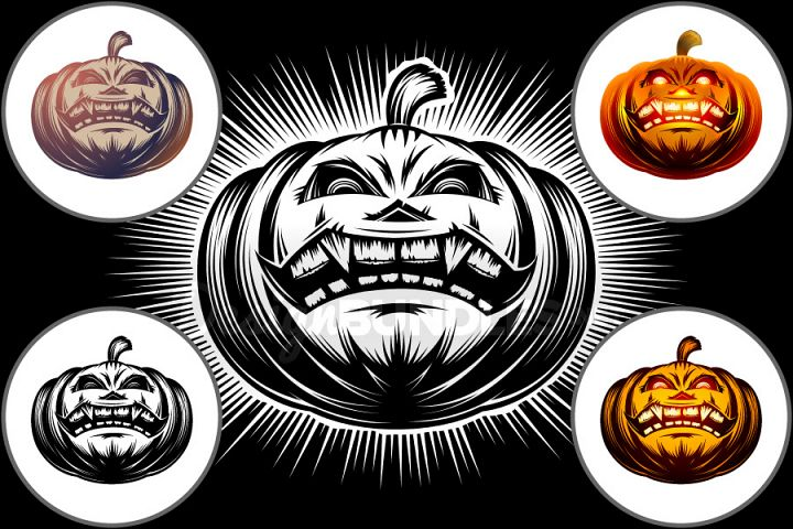 Vector Halloween Pumpkin Carved Eyes Mouth Icon Set