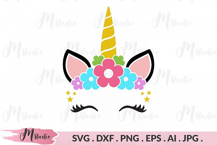 Unicorn Head floral svg