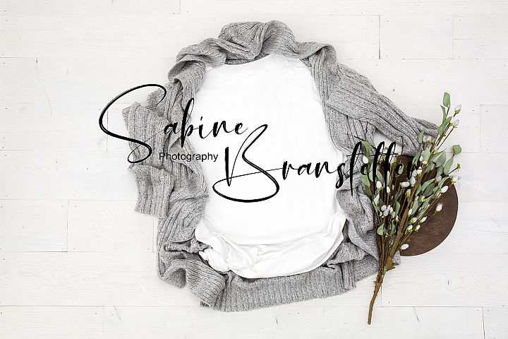 Styled Stock Photo White Womens T-Shirt Cardigan Mockup