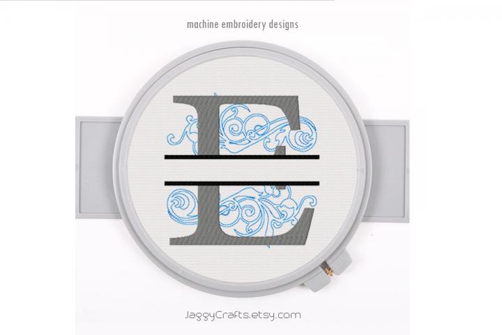 Embroidery Fonts Split Monogram E, Monogram Fonts Design