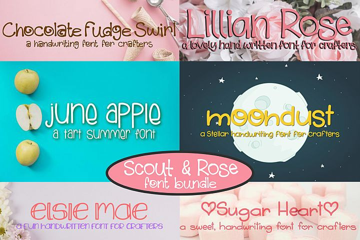 Scout & Rose Handwritten Font Bundle - 6 fonts!