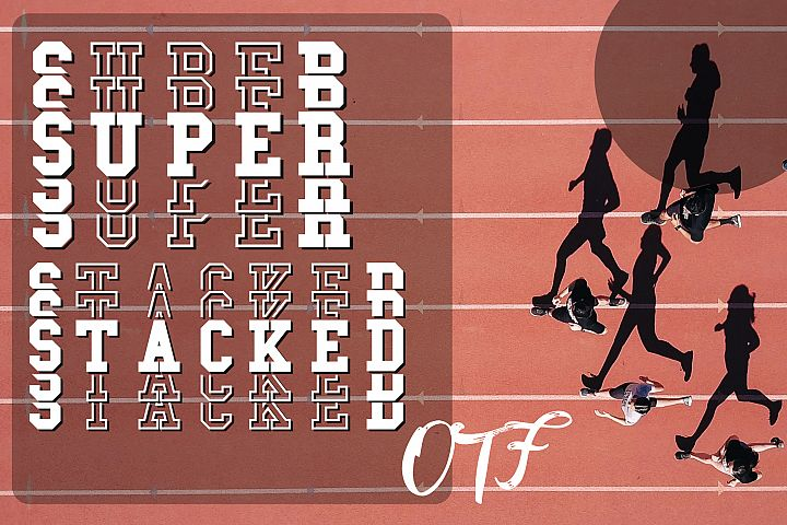 Super Stacked Mirror Sport Font Filled and Outlined