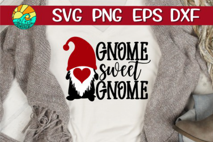 Gnome Sweet Gnome - Valentines Day - Heart - SVG PNG EPS DX