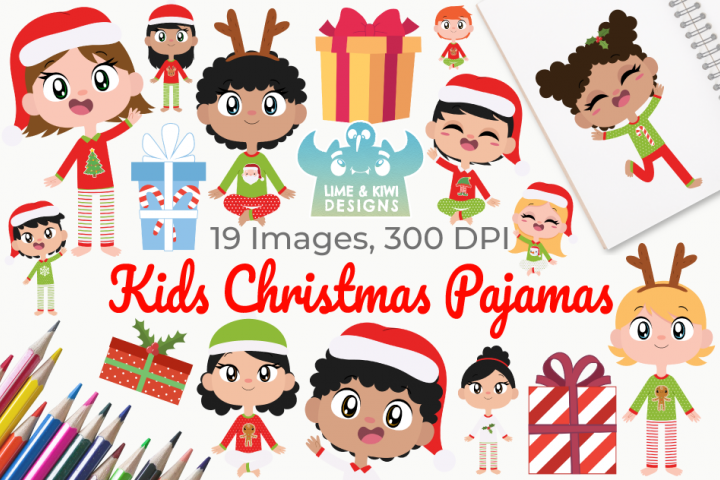Kids Christmas Pajamas Clipart, Instant Download Vector Art