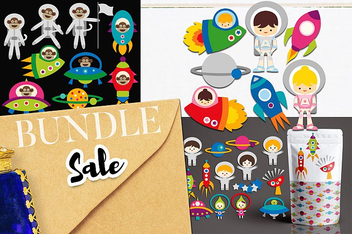 Astronauts, Space Ships, Rockets - Illustrations Bundle