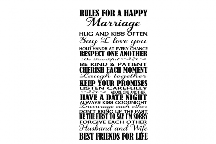 Rules for a happy marriage SVG file