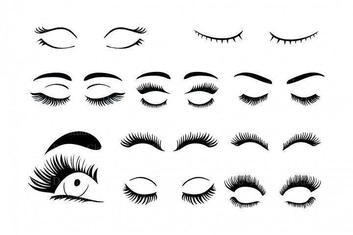 Eyelash SVG, Eyelashs set svg files for Silhouette Cameo and Cricut. Fashion PNG, Eyelashes clipart PNG transparent included.